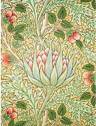"Papel de parede de ""Alcachofra""de John Henry Dearle para William Morris & Co. 1897"