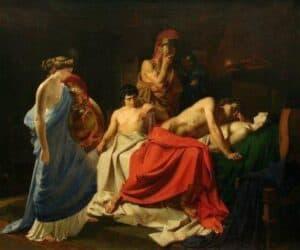 guerra de Troia Aquiles lamentando a morte de Ptratoclo (1855) pelo realista russo Nikolai Ge