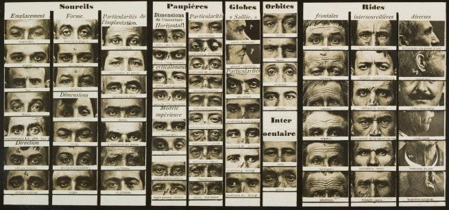 Cartões do aspetos dos olhos que ajudaram os policias a identificar suspeitos, com o sistema Bertillon.