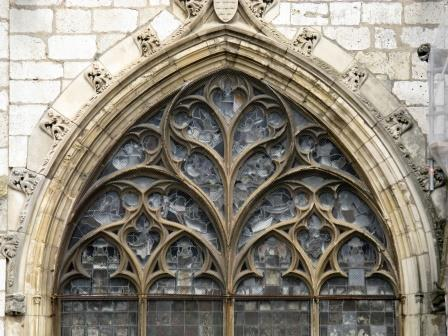 "French ""Decorated"" tracery: an apse window, Bourges Cathedral, Bourges, France"