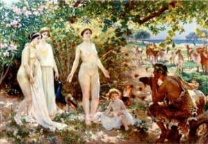 O Julgamento de Páris. Óleo sobre tela de Enrique Simonet, 1904 (Museu de Málaga).