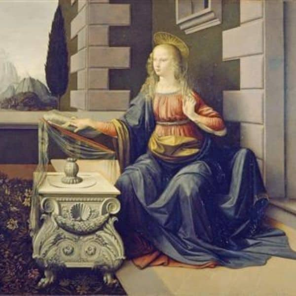 obras de leonardo da vinci A Anunciação , detalhe