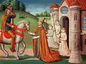 Carlos Magno e o Papa Adriano I, por Antoine Vérard