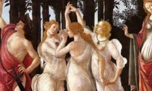 andro Botticelli. Three Graces in Primavera, detail, c.1485-1487. Uffizi Gallery