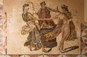 as três graças mosaico romano | the three graces