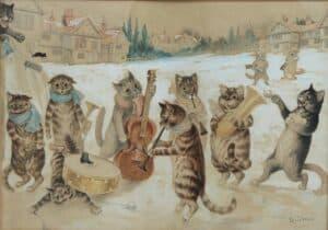Canto de Natal, Louis Wain, aguarela e desenho