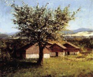 Swiss Landscape with Flowering Apple Tree