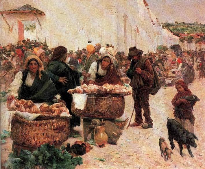 José Malhoa As padeiras, mercado em Figueiró (1898)
