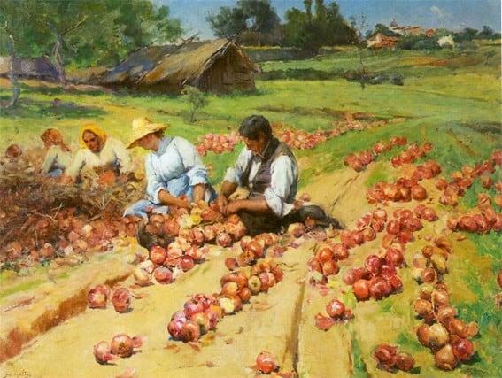José Malhoa Embaraçar cebolas (1896)