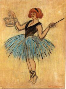 """Leal da Câmara A """"Dança do Urso"""", por Gaby Deslys, pastel e lápis."""