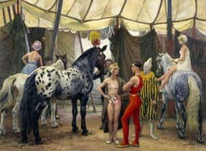 Dame Laura Knight. Circus Matinee, c. 1938, Pannett Art Gallery, Whitby, England, UK (Wikiart)