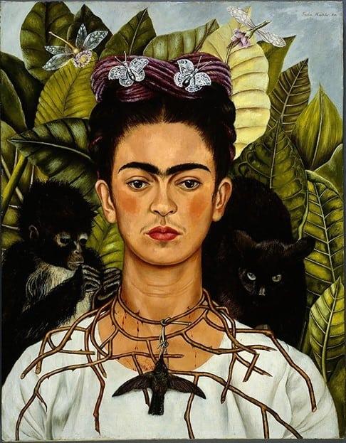 Frida khalo autorretrato com colar de espinhos e beija flor