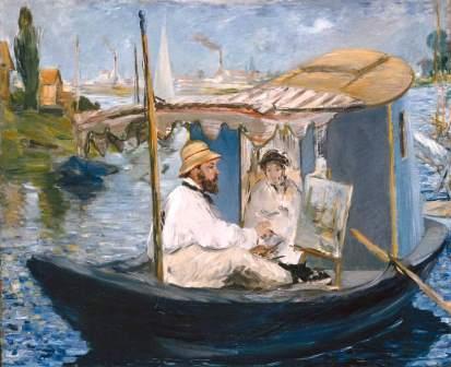 Monet pintando no seu barco, Claude Manet